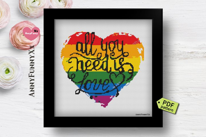 Lgbt pride flag cross stitch pattern PDF