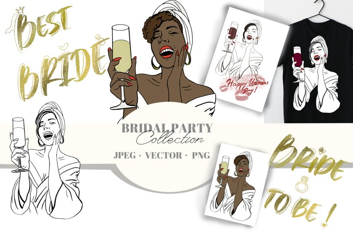 Vector Bridal party set. Tshirt and bridal gifts creating.