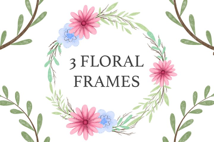 Floral Frames Digital Set - Wreaths Beautiful Flowers