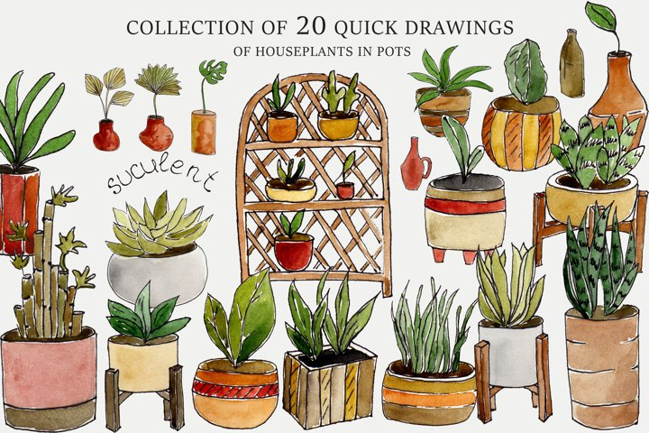 Collection of quick drawings of house 20 plants in pots