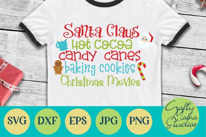 Christmas SVG, Santa Claus, Hot Cocoa, Candy Canes, Movies