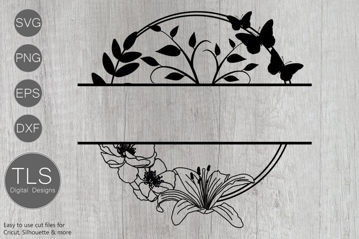 Floral Butterfly Split Monogram SVG