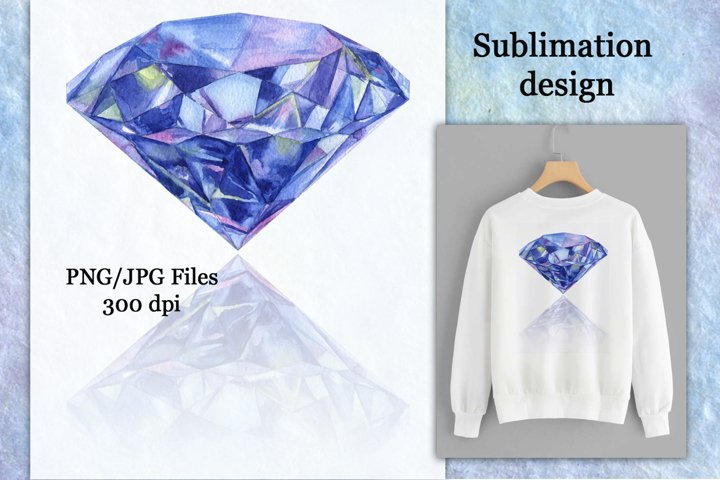 Sublimation design watercolor diamond with shadow