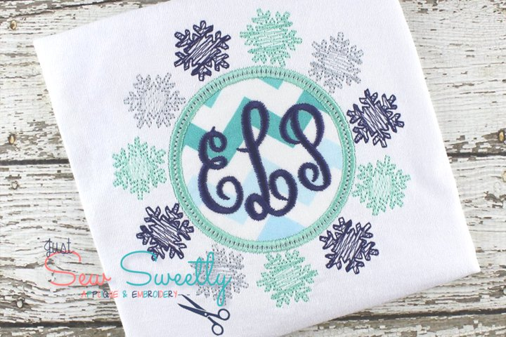 Christmas Monogram Snowflake Frame Applique Embroidery Desig