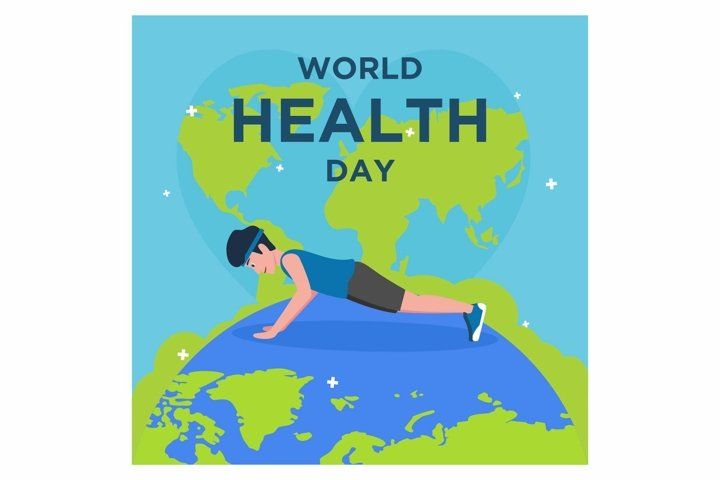 Flat design world health day, Man doing sport