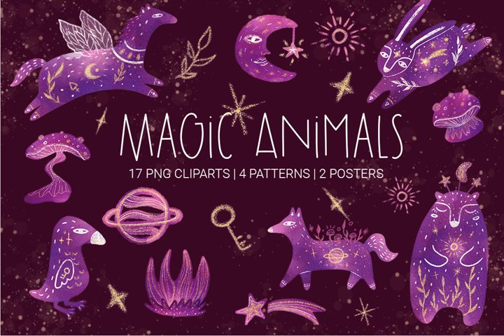 Watercolor Magic Animals set