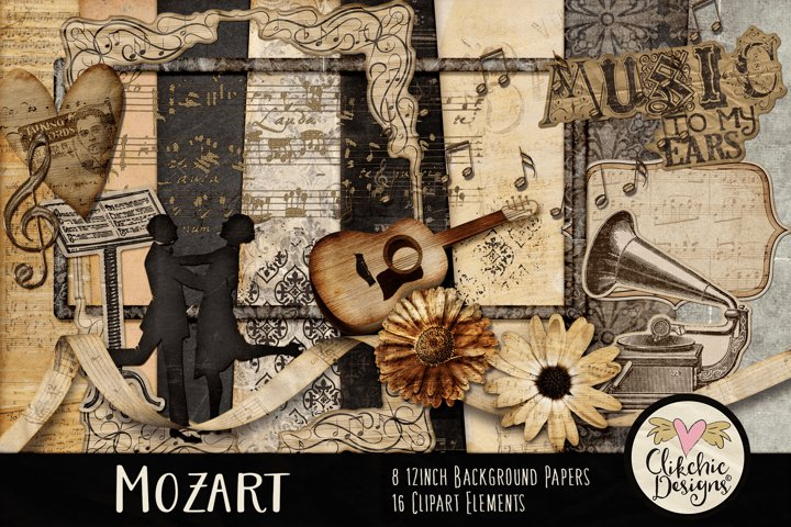 Digital Scrapbook Kit, Music Scrapbooking clipart