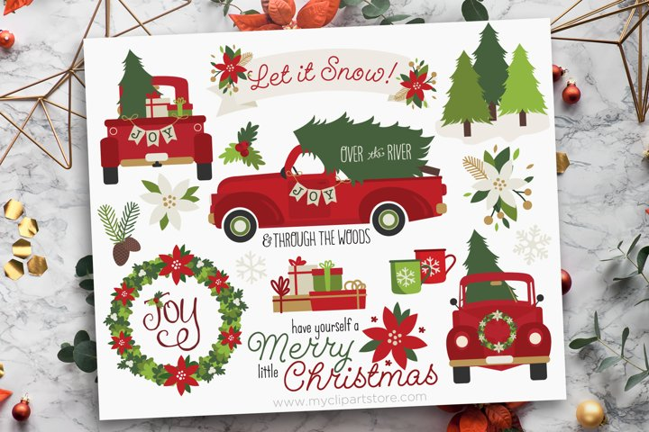 Vintage Red Christmas Truck Clipart - Vector Clip Art & SVG