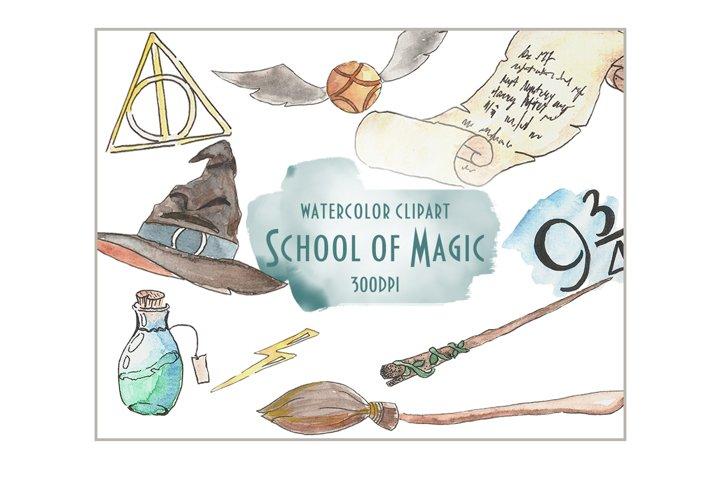 Watercolor clipart School of magic, watercolor clipart magic