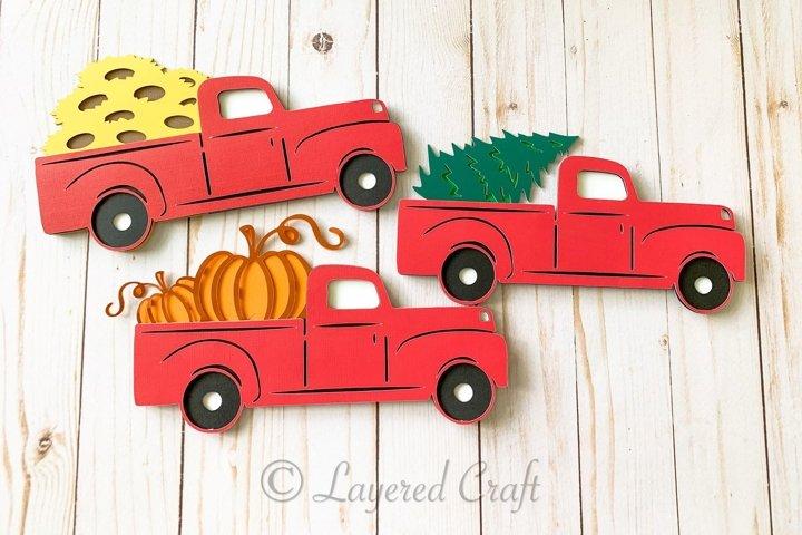 3D Layered Farmhouse Truck Paper Craft Bundle- Digital Cut