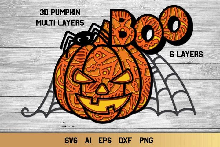 3D Layered Halloween SVG | Multi Layer svg| Pumpkin Cut File