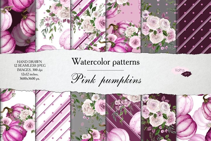 Watercolor Pink pumpkin and peony patterns, Digital Paper