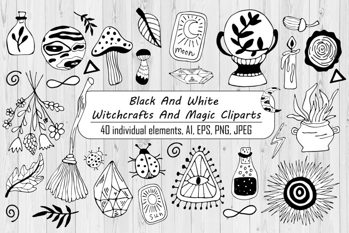Black And White Witchcrafts And Magic Clipart - Line Art
