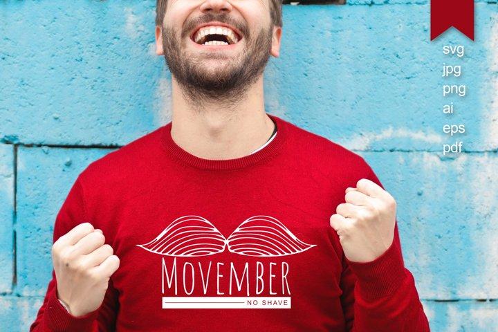 Movember, no shave. Doodle hand draw mustache, svg, monogram