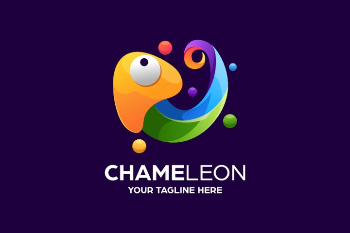 Colorful Abstract Chameleon Logo Design Template
