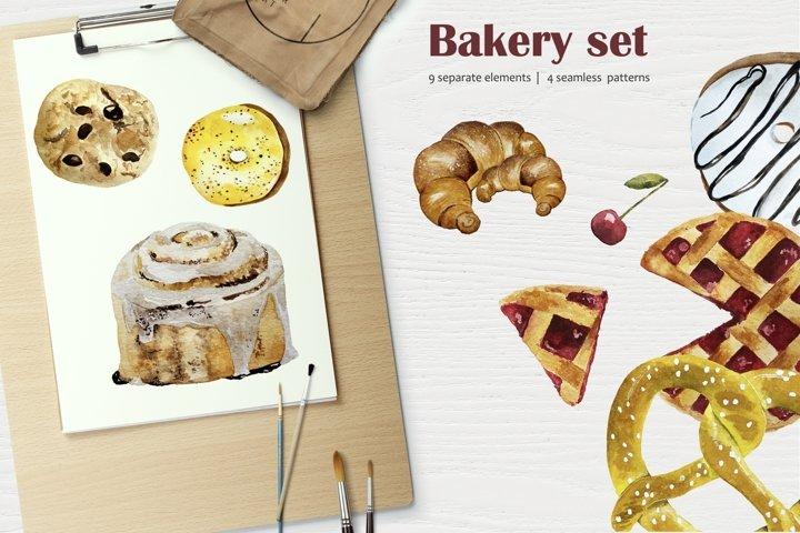 Bakery Watercolor Set - Croissant, Cinnamon Roll, Donut, Pie