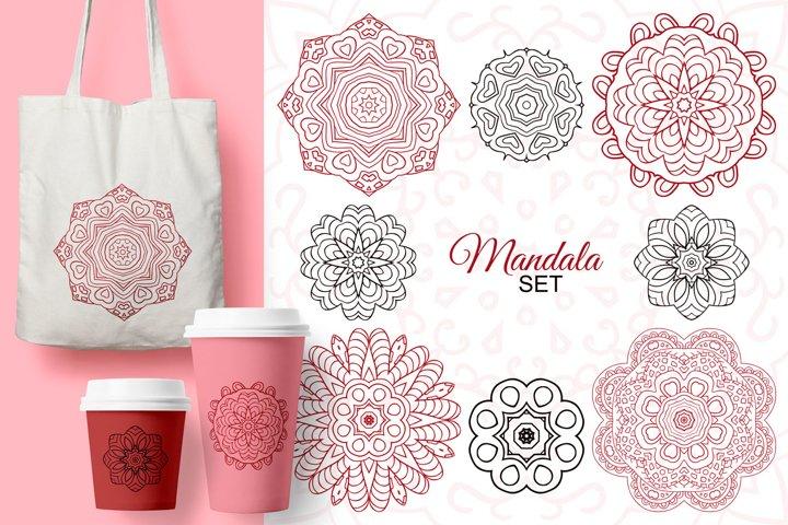Mandala set. Doodle drawing, ethnic motifs. 8 zentagl images
