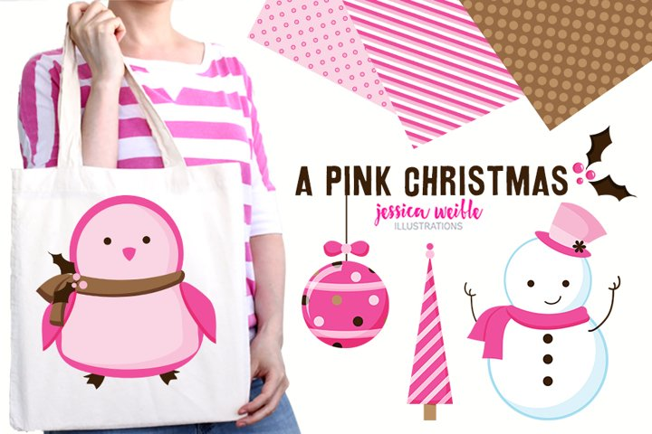 A Pink Christmas Clipart Graphics Collection