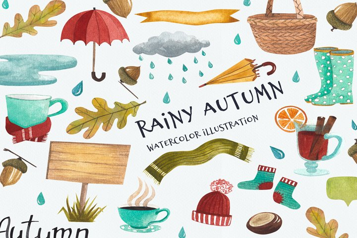 Rainy autumn, autumn set, watercolor autumn, illustration