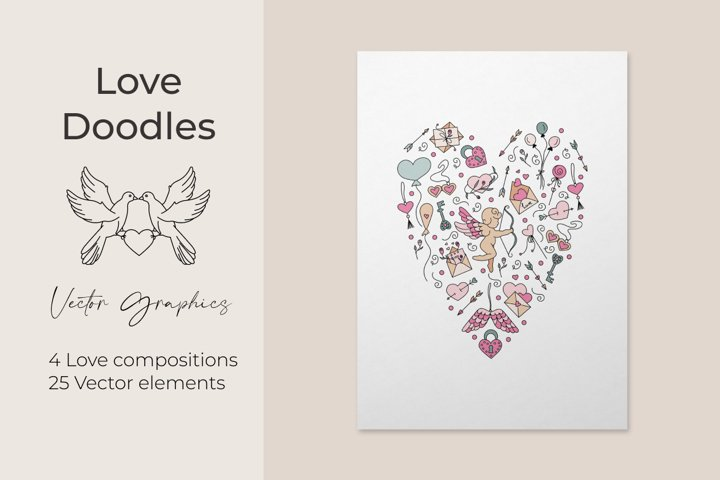Valentines Day set of vector elements in doodle style