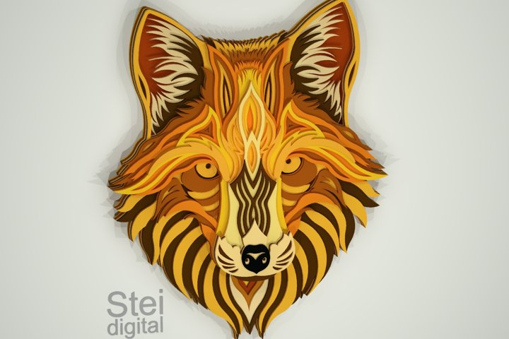 3d layered Fox SVG for Cricut, Dxf laser cutting files.