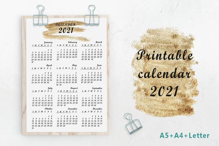 Printable gold minimalist calendar 2021