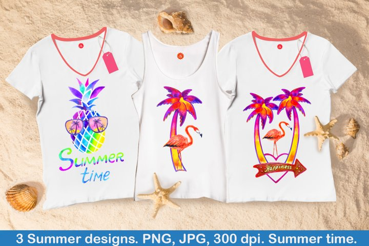 Summer time. Watercolor clipart. Png, jpg