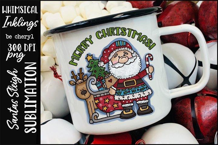 Santas Sleigh Sublimation Clipart