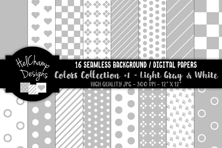 16 seamless Digital Papers - Light Gray and White - HC108