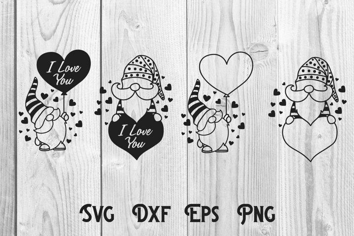 Gnome love, gnomes valentine, valentine monogram svg