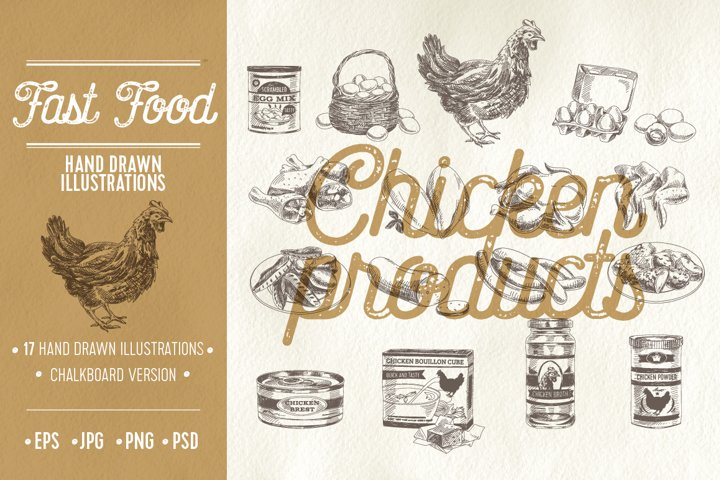 Vector hand drawn chicken products illustrations
