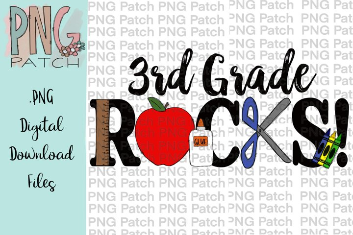 3rd Grade Rocks, Student PNG File, School Sublimation