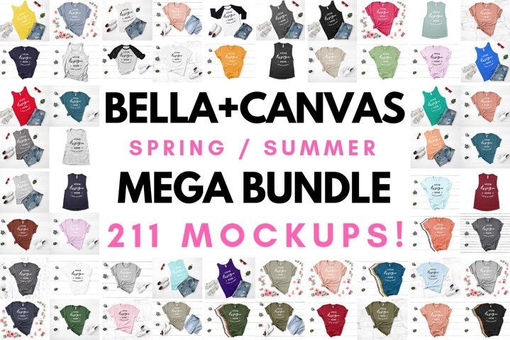 Bella Canvas T-Shirt Mockup Spring Summer Mega Bundle