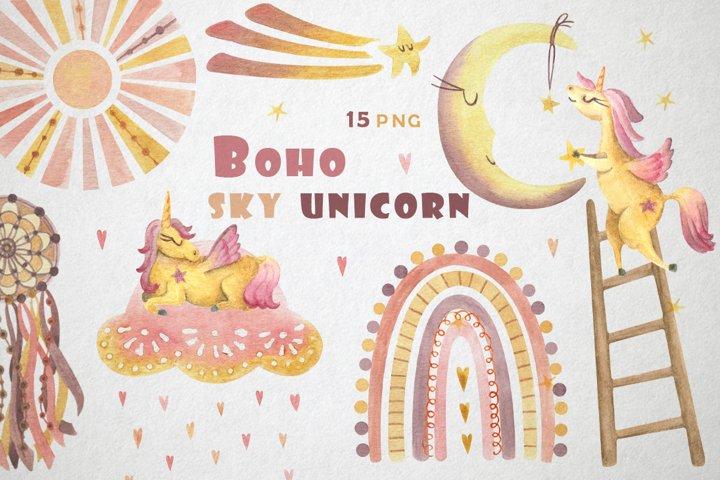 Kids watercolor clipart boho, unicorn, rainbow, moon, sun