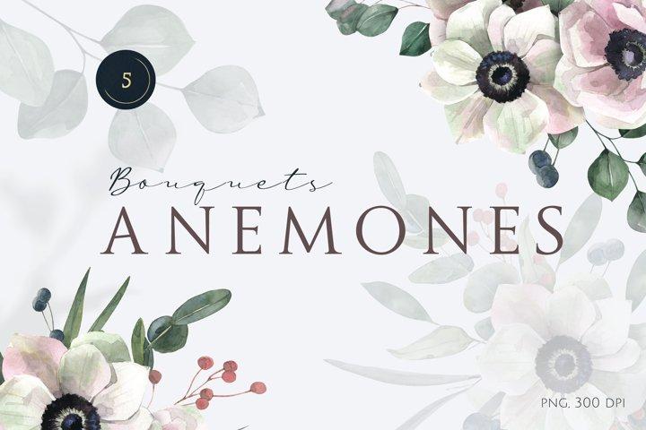 Watercolor Anemones Bouquets