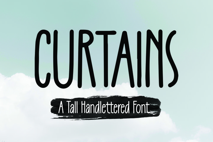 Curtains -Tall Handlettered Font