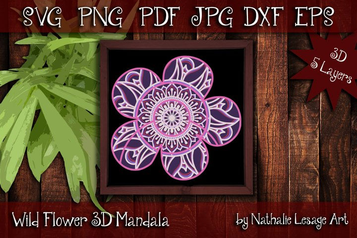 3D SVG Mandala Wild Flower 5 Layers Cutting File
