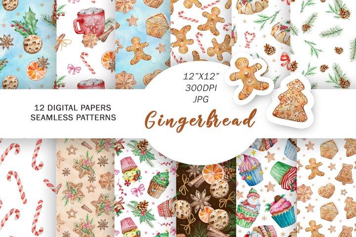 Gingerbread Digital Paper, Watercolor Christmas Patterns