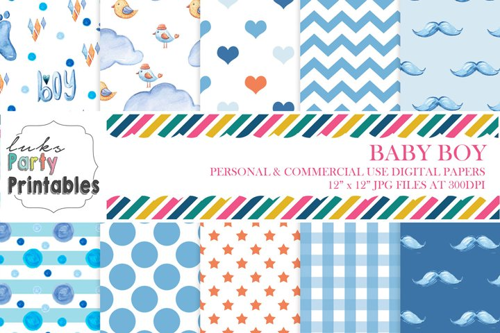 Boy Baby Shower Digital Paper Scrapbooking Paper Background