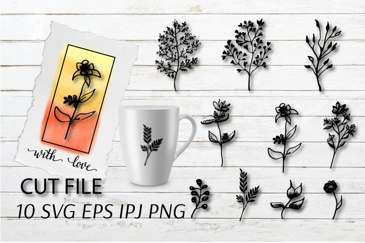 Leaves SVG .Branches SVG file. Wedding invitation clipart