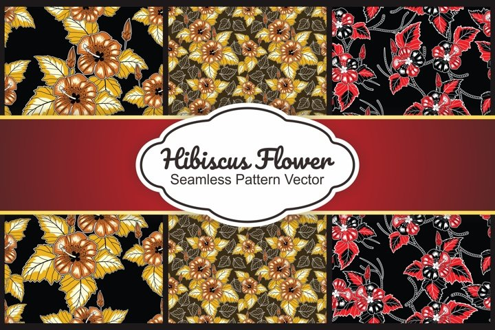 6 Collection Hibiscus flower seamless pattern vector