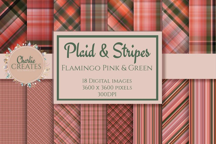 Digital paper - Plaid tartan - Flamingo pink & green