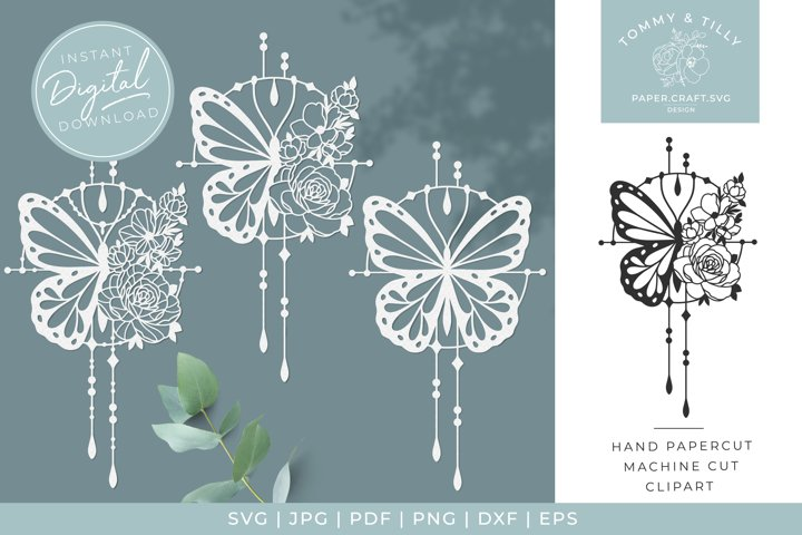 Butterfly Pattern x 3 - SVG DXF PNG EPS JPG PDF Cutting