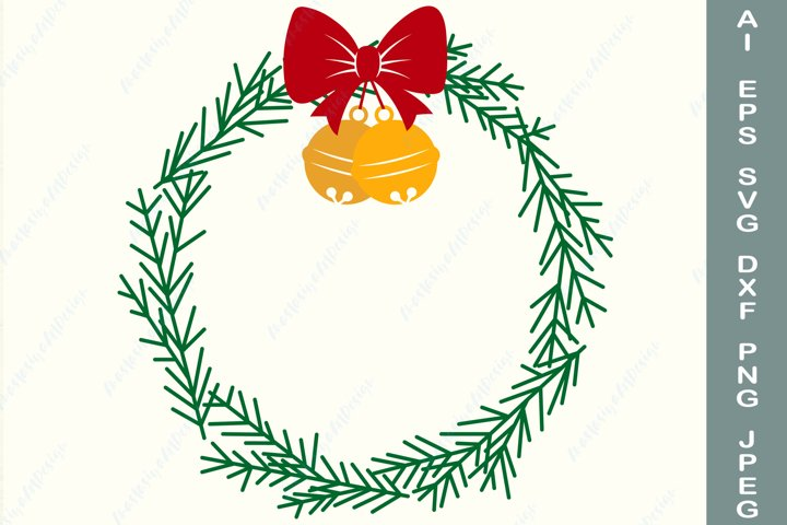 Christmas wreath svg, Christmas tree frame svg, Holiday dxf