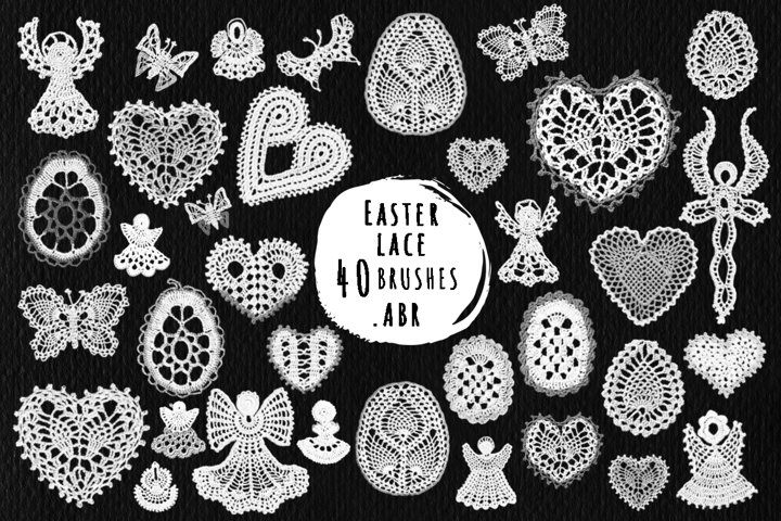 Easter lace brushes for Photoshop, ProCreate .abr