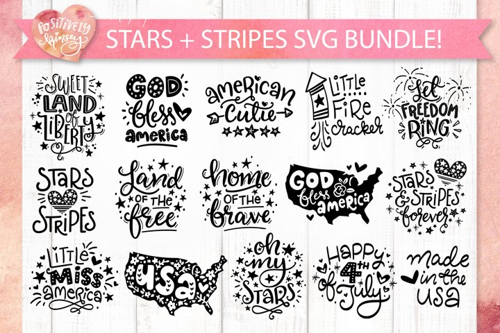 Stars and Stripes SVG Bundle, 15 4th of July SVG Files, USA