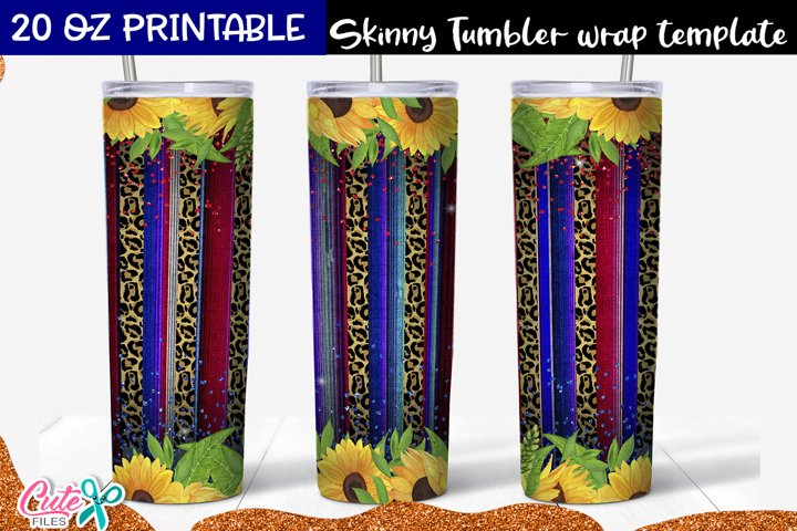 Patriotic Serape and sunflower sublimation Skinny tumbler