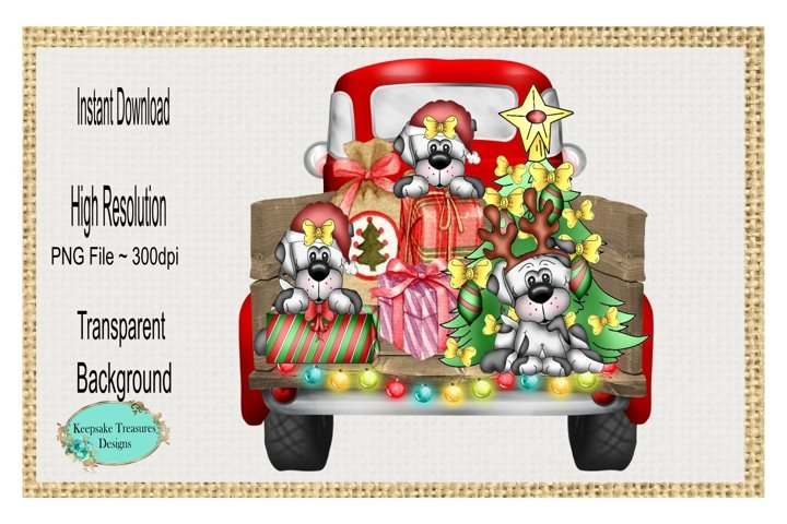 Christmas Dogs, Vintage Truck, Sublimation Design