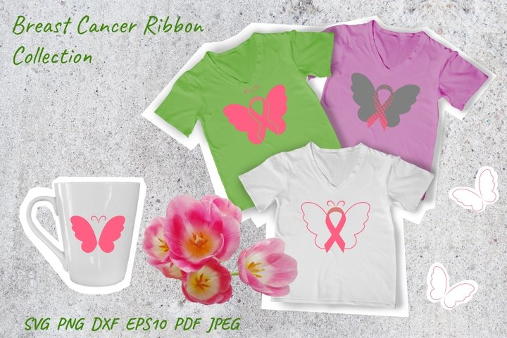 Breast Cancer Ribbon Butterfly Cut File. Butterfly SVG