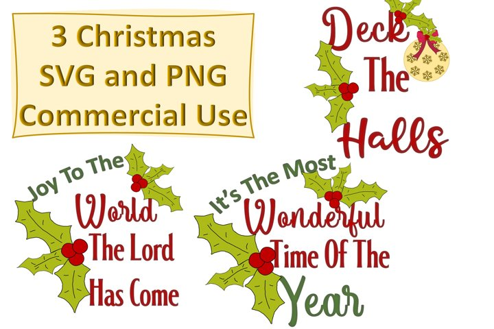 Christmas Quotes SVG and PNG 3 Designs
